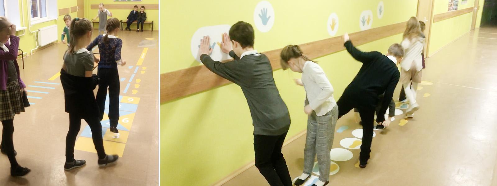игровые дорожки в рекреации начальной школы -движение на перемене