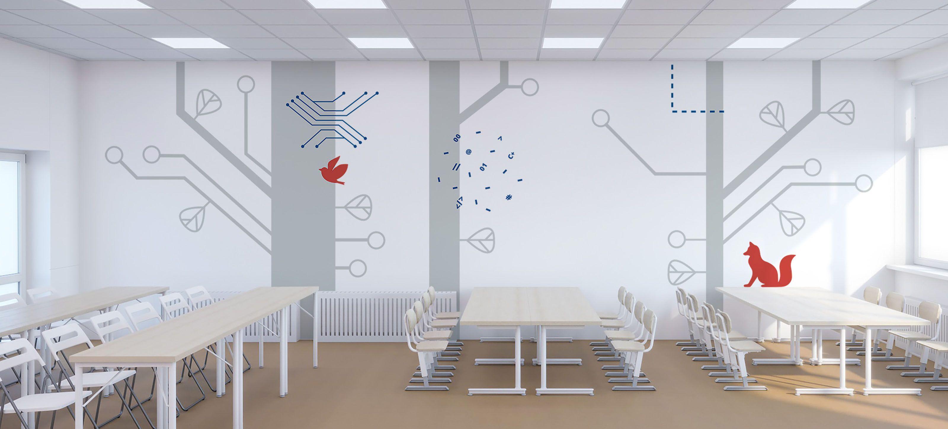 Дизайн стен учебного класса школы №1502 г. Москвы