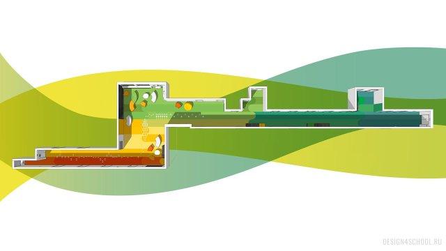 Изображение 1 - дизайн коридора и дизайн класса начальной школы